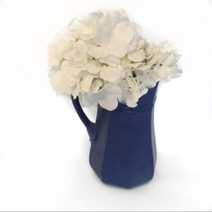 Other - Navy Blue Pitcher w/ White Flowers